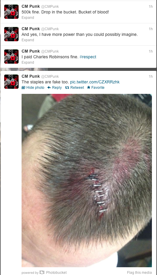 @CMPunk Tweeting about a 500K fine for blading/being bloody on Raw
