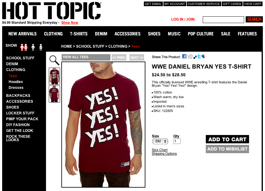 "Daniel Bryan WWE ""YES! YES! YES!"" T-shirt available at Hot Topic, punk kids rejoice (and stink)"