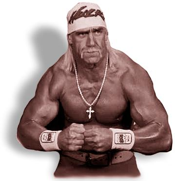 Hulk Hogan wins the first battle. Weilds a large pimp hand.