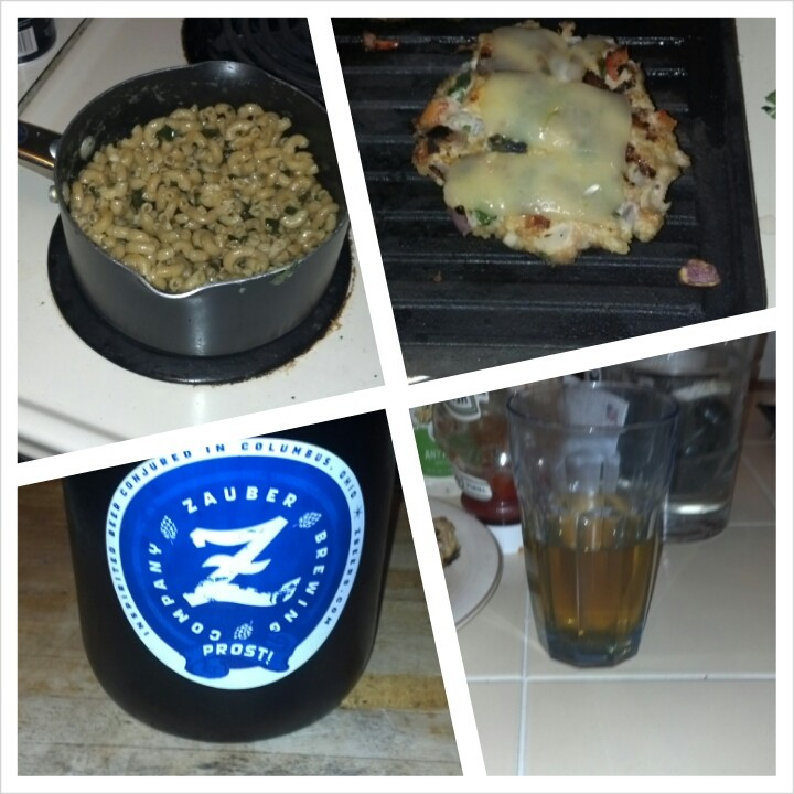 Buxom Blonde along with some home made mac n' cheese and chicken burgers.