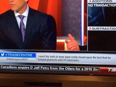 Screen cap about Trade deadline day in the NHL