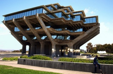The Geisel Library in San Diego on the campus of the University of California, San Diego. Designed by William L Pereira & Associates.