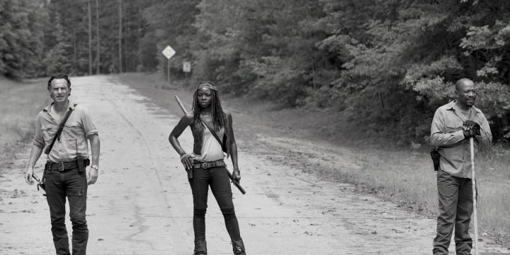 Andrew Lincoln as Rick Grimes, Danai Gurira as Michonne and Lennie James as Morgan Jones - The Walking Dead _ Season 6, Episode 1 - Photo Credit: Gene Page/AMC