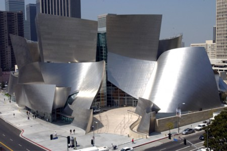 The Walt Disney Concert Hall designed by Frank Gehry. Saved from musiccenter.org