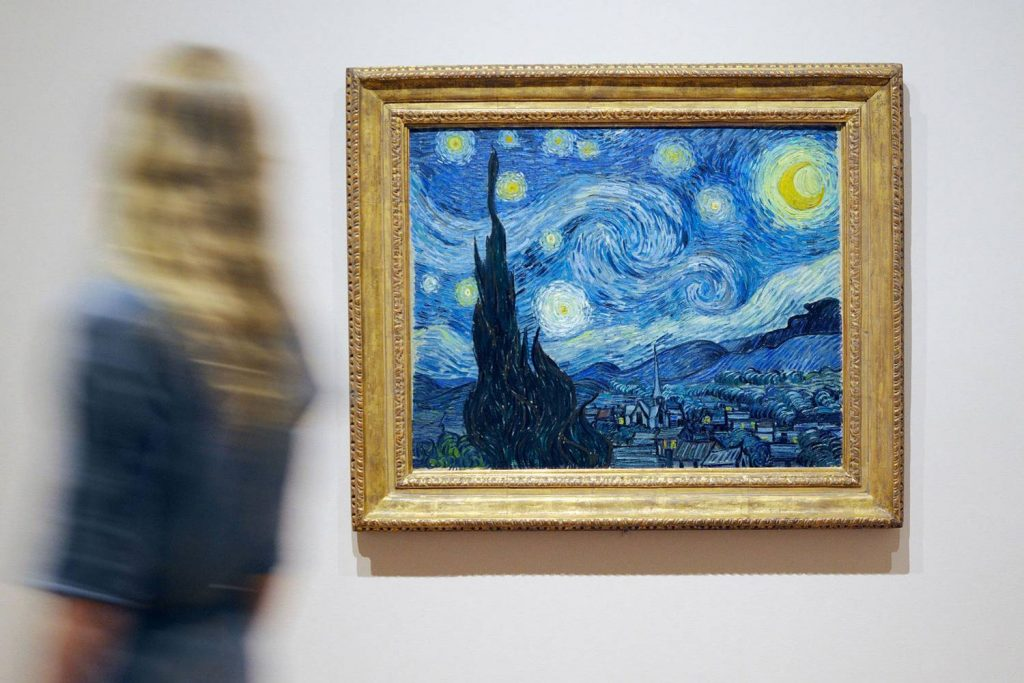 Starry Night by Vincent Van Gogh which is in the New York Museum of Modern Art. Picture saved from NYCgo.com